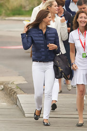 Princess Madeleine took a break from princess gowns and opted for a simple pair of white skinny jeans as she attended Sweden's Innovation Forum Seminar.