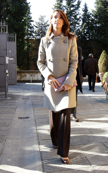 More Pics of Princess Marie Cardigan (5 of 59) - Tops Lookbook - StyleBistro [badia fiesolana,clothing,photograph,street fashion,coat,brown,fashion,lady,snapshot,trench coat,footwear,marie of denmark,florence,italy,visit]