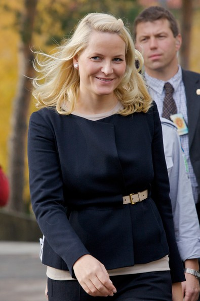 Princess Mette-Marit Cropped Jacket [hair,blond,clothing,lady,hairstyle,street fashion,fashion,long hair,outerwear,dress,oslo,norway,norway attends international scouts gathering,crown princess,mette-marit]