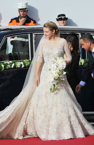 Princess Stephanie of Luxembourg Wedding Dress [gown,wedding dress,dress,bride,photograph,bridal clothing,white,clothing,shoulder,red,wedding,wedding ceremony,ceremony,luxembourg,cathedral of our lady,stephanie,guillaume of luxembourg stephanie de lannoy - official ceremony,prince,belgian countess,guillaume of luxembourg]