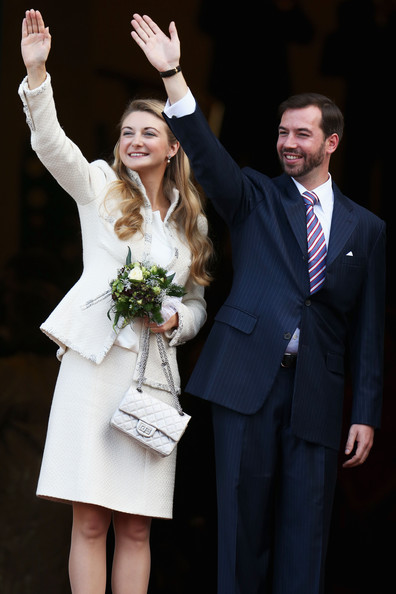 Princess Stephanie of Luxembourg Quilted Purse [guillaume of luxembourg stephanie de lannoy - civil ceremony,stephanie de lannoy,prince,belgian countess,crowd,formal wear,event,suit,ceremony,fashion,tuxedo,wedding,gesture,dress,happy,luxembourg,wedding,ceremony,wave,wedding]