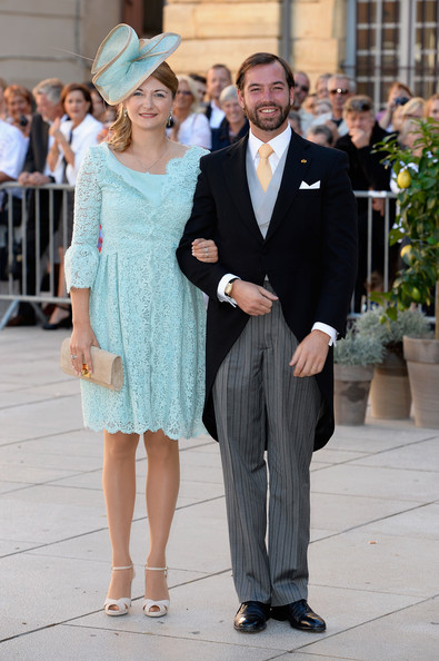 Princess Stephanie of Luxembourg Strappy Sandals [suit,fashion,event,formal wear,street fashion,dress,white-collar worker,tuxedo,ceremony,style,prince,guillaume of luxembourg,claire lademacher,stephanie of luxembourg,basilique sainte marie-madeleine,saint-maximin-la-sainte-baume,france,felix of luxembourg,wedding]