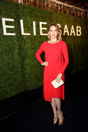 Haley Bennett looked stylish and sophisticated in a long-sleeve red Elie Saab dress during the label's private dinner in LA.