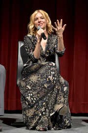 Sienna Miller attended the 'Burnt' Q&A panel and reception wearing a flowing print dress by Chloe.
