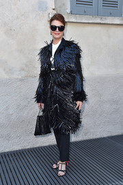 Susan Sarandon was a scene-stealer in this black fringe coat by Prada at the 'TV 70: Francesco Vezzoli Guarda La Rai' private view.