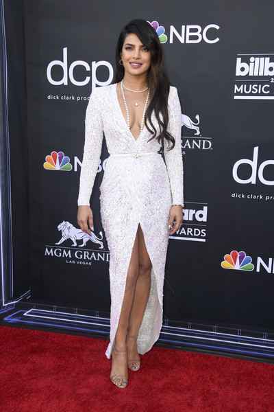 Priyanka Chopra Beaded Dress [red carpet,clothing,carpet,dress,shoulder,fashion,flooring,premiere,fashion model,leg,arrivals,priyanka chopra,billboard music awards,mgm grand garden arena,las vegas,nevada]