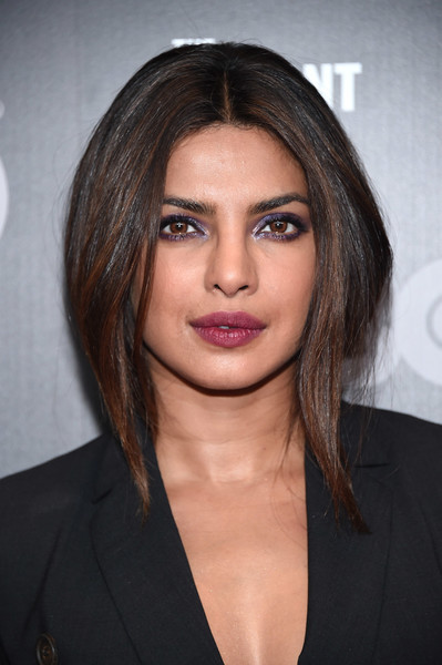 Priyanka Chopra Berry Lipstick [the defiant ones,hair,face,eyebrow,hairstyle,chin,lip,layered hair,brown hair,beauty,shoulder,priyanka chopra,new york,time warner center,premiere,premiere]