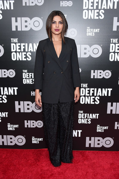 Priyanka Chopra Wide Leg Pants [the defiant ones,suit,formal wear,flooring,fashion,outerwear,carpet,tuxedo,blazer,red carpet,gentleman,priyanka chopra,new york,time warner center,premiere,premiere]