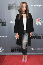Tyra Banks went grunge-chic in ripped gray jeans at the Q&A for 'The New Celebrity Apprentice.'