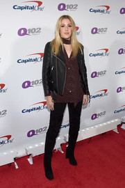 Ellie Goulding contrasted her edgy outerwear with a sweet heart-print blouse.