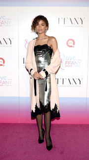 Zendaya Coleman opted for simple styling with a pair of black pumps.