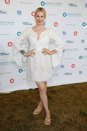 Kelly Rutherford donned an embroidered LWD with bell sleeves for Super Saturday Live.