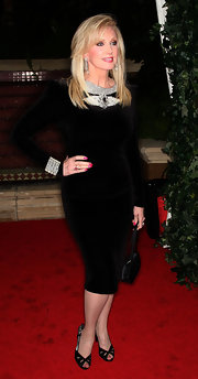 Morgan Fairchild's embellished LBD and black cutout peep-toes at the QVC Red Carpet Style event were a classy combination.