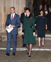 Kate Middleton looked smart, as always, in a double-breasted green coat by Catherine Walker while attending a service marking the centenary of the WW1 Armistice.
