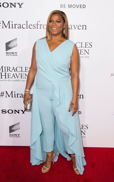 Queen Latifah Strappy Sandals [clothing,red carpet,dress,shoulder,carpet,hairstyle,fashion,cocktail dress,premiere,joint,red carpet,latifah,miracles from heaven,los angeles,arclight cinema,california,hollywood,columbia pictures,premiere,premiere]