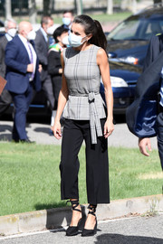 Queen Letizia of Spain attended the opening of the School Course 20-21 wearing a sleeveless gray plaid top by Zara.