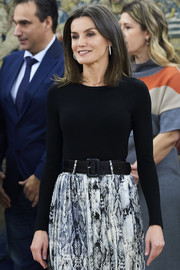 Queen Letizia of Spain accessorized her outfit with a broad leather belt when she attended audiences at Zarzuela Palace.