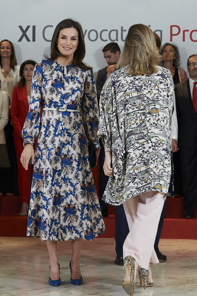 More Pics of Queen Letizia of Spain Print Dress (1 of 55) - Dresses & Skirts Lookbook - StyleBistro [fashion,clothing,fashion design,dress,event,footwear,fashion show,fun,outerwear,flooring,letizia of spain,proyectos sociales de banco santander awards,l,proyectos sociales de banco santander,letizia of spain attends,spain,madrid]