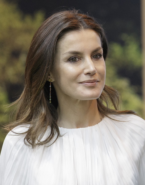 Queen Letizia of Spain Dangling Chain Earrings [fitur,hair,face,white,hairstyle,lady,eyebrow,beauty,lip,blond,head,spanish,spain,ifema,madrid,royals,letizia]