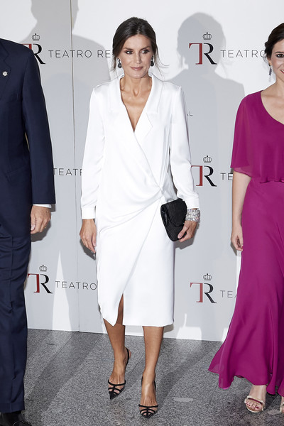 Queen Letizia of Spain Tuxedo Dress [spanish royals attends opera,clothing,white,dress,shoulder,fashion,suit,formal wear,cocktail dress,joint,fashion model,spain,the royal theatre,madrid,letizia,don carlos,opera don carlo]