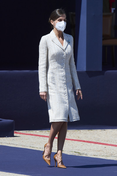 Queen Letizia of Spain Tweed Coat [joint,shoulder,eyewear,sleeve,waist,street fashion,knee,dress,thigh,runway,outerwear,flooring,queen,letizia,letizia attends a military event,joint,colmenar viejo,spain,ceremony,delivery,fashion show,haute couture,shoe,fashion,model,outerwear / m,flooring,outerwear]
