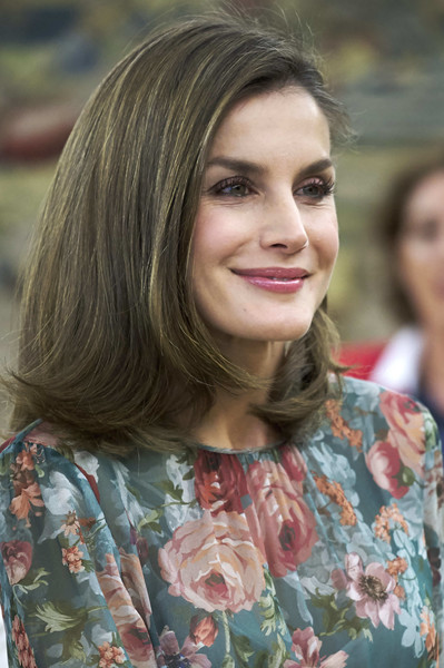 Queen Letizia of Spain Flip [letizia of spain attends audicences,audiences,queen,hair,face,hairstyle,lip,lady,beauty,skin,chin,blond,brown hair,spain,zarzuela palace,madrid]