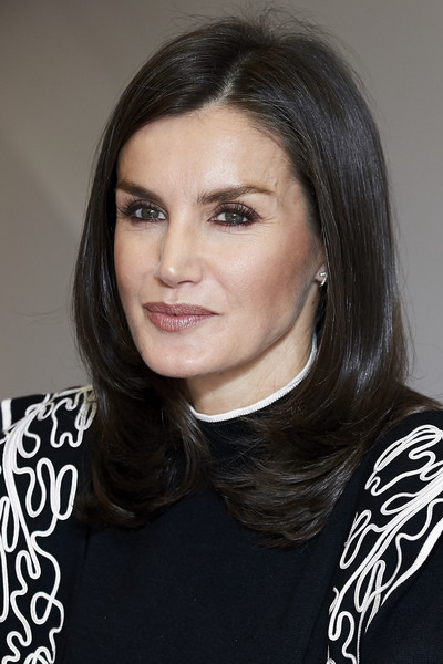 Queen Letizia of Spain Medium Layered Cut [hair,face,hairstyle,eyebrow,black hair,beauty,chin,layered hair,long hair,lip,letizia,fad,spain,madrid,foundation against drug addiction headquarters]