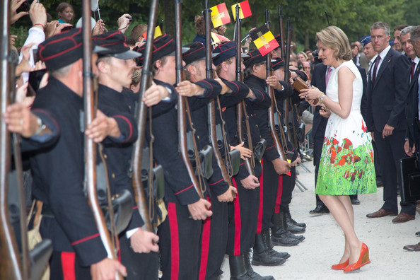Queen Mathilde of Belgium Wedges [event,uniform,ceremony,tradition,plant,pole,team,mathilde of belgium,place des palais,brussel,belgium,belgium royals national day]