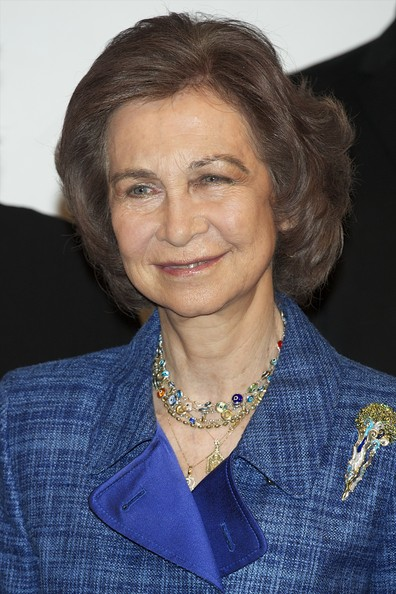 Queen Sofia Bob [hair,chin,official,electric blue,sofia,don quijote journalism awards,spain,madrid,casa de america,spanish royals attend jornalism awards]