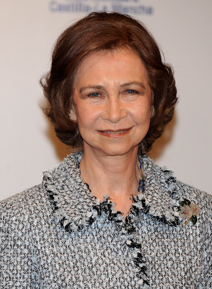 Queen Sofia Curled Out Bob [hair,face,hairstyle,eyebrow,chin,lip,blond,neck,brown hair,long hair,sofia,don quijote,journalism awards,madrid,spain,casa de america,spanish royals attend journalism awards]