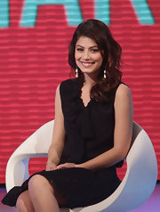 Alessandra Mastronardi looked so feminine and chic in a bow-adorned black blouse.