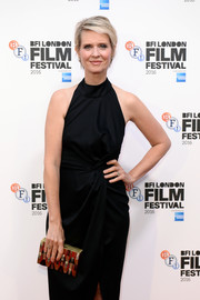 Cynthia Nixon spiced up her dark outfit with a mother-of-pearl box clutch for the BFI London Film Festival screening of 'A Quiet Passion.'