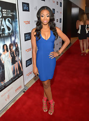 Bresha Webb showed off some curves with this rich, royal blue cocktail dress.