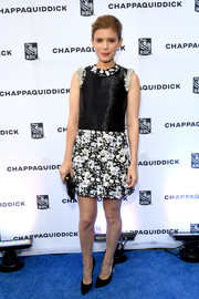 Kate Mara chose a Giambattista Valli Couture mini dress with a shimmering bodice and an embroidered neckline and skirt for the 'Chappaquiddick' cocktail party.