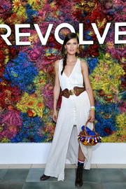 Bianca Balti donned a white button-front maxi dress for the Revolve Desert House party during Coachella.
