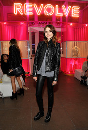 Langley Fox Hemingway amped up the edge factor with a studded black leather jacket at the Revolve Pop-Up launch.