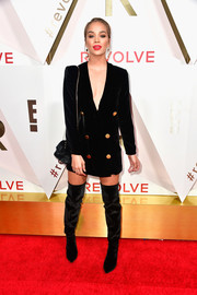 Jasmine Sanders completed her fierce look with black thigh-high boots.