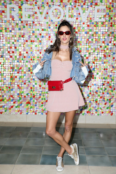 Alessandra Ambrosio rounded out her look with a pair of metallic sneakers by Golden Goose.
