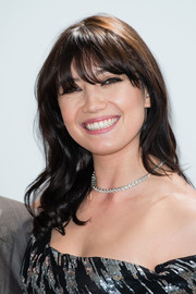 Daisy Lowe adorned her bare neckline with a classic diamond tennis necklace.