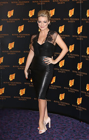 Sheridan Smith blended soft and sweet with hard and edgy when she sported this leather dress with a lace bodice and sleeves.