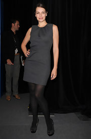 Tammy keeps it simple in this sophisticated gray cocktail dress with beautiful neck gathering.