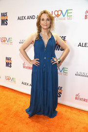 Lea Thompson brought some boho appeal to the Race to Erase MS Gala with this loose blue maxi dress.