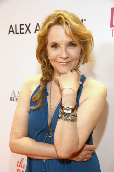 More Pics of Lea Thompson Loose Braid (1 of 5) - Updos Lookbook - StyleBistro [gala,lea thompson,hair,blond,beauty,hairstyle,lady,electric blue,smile,photography,dress,long hair,race,beverly hills,california,the beverly hilton hotel]