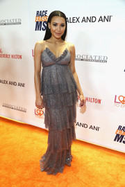 Naya Rivera oozed glamour in a tiered, beaded gray gown by Marchesa at the Race to Erase MS Gala.