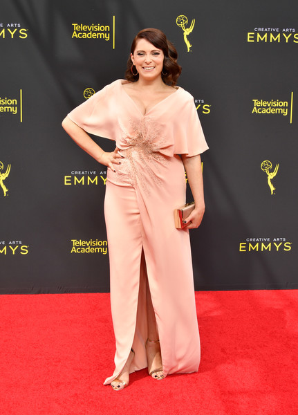 Rachel Bloom Satin Clutch [red carpet,clothing,carpet,flooring,dress,fashion,premiere,shoulder,fashion model,event,arrivals,rachel bloom,creative arts emmy awards,los angeles,california]