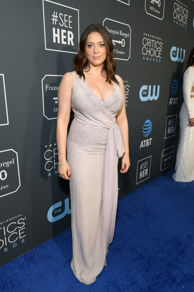 Rachel Bloom Wrap Dress [red carpet,dress,clothing,shoulder,carpet,red carpet,premiere,gown,fashion,cocktail dress,flooring,rachel bloom,critics choice awards,santa monica,california,barker hangar]
