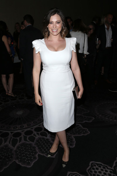 Rachel Bloom Evening Pumps [white,dress,clothing,fashion,shoulder,cocktail dress,fashion model,hairstyle,joint,leg,beverly hills,california,the beverly hilton hotel,television critics association awards,summer tca tour,television critics association summer tour,rachel bloom]