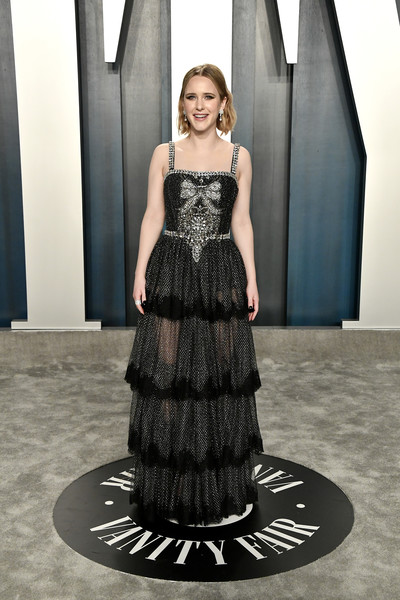 Rachel Brosnahan Beaded Dress [dress,clothing,black,fashion model,gown,fashion,lady,haute couture,formal wear,shoulder,radhika jones - arrivals,radhika jones,rachel brosnahan,beverly hills,california,wallis annenberg center for the performing arts,oscar party,vanity fair,rachel brosnahan,wallis annenberg center for the performing arts,vanity fair,oscar party,academy awards,red carpet,party,fashion,actor]