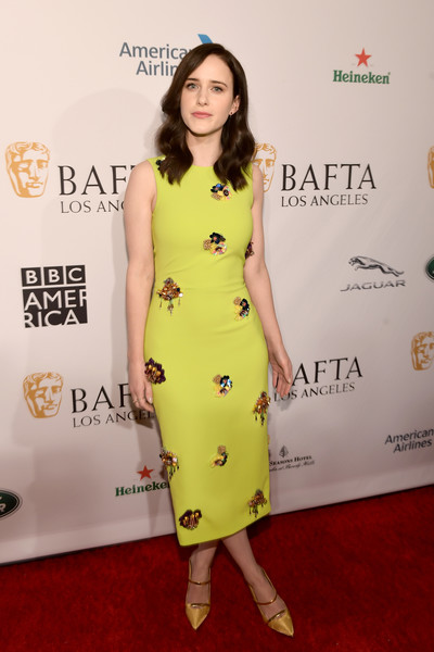 Rachel Brosnahan Beaded Dress [clothing,dress,red carpet,fashion model,yellow,cocktail dress,carpet,hairstyle,shoulder,flooring,arrivals,rachel brosnahan,los angeles,four seasons hotel,california,beverly hills,bafta,tea party]