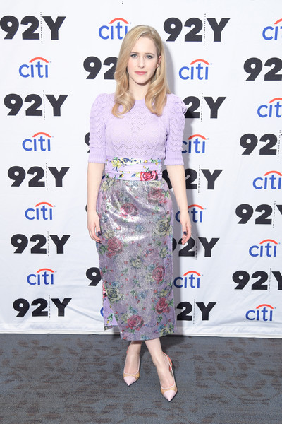 A pair of pink cap-toe pumps rounded out Rachel Brosnahan's attire.